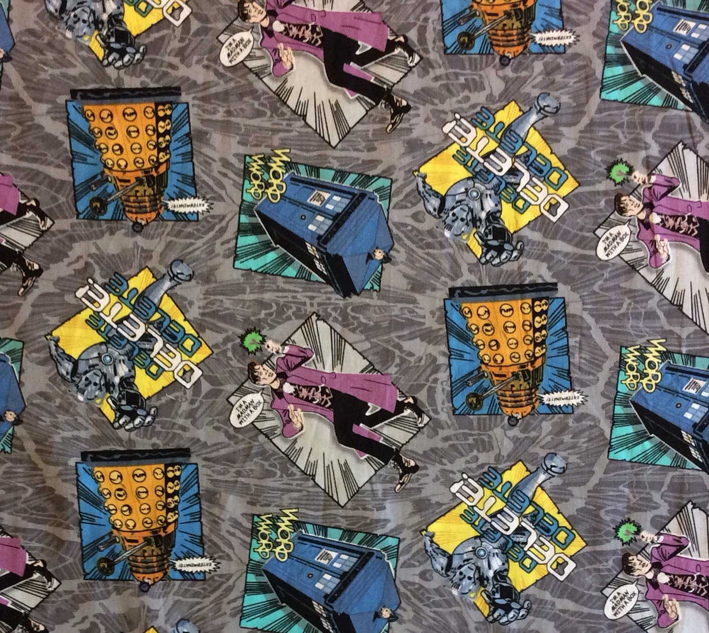 Md223 doctor who dalek cybermen matt smith bbc time space for Space themed fabric