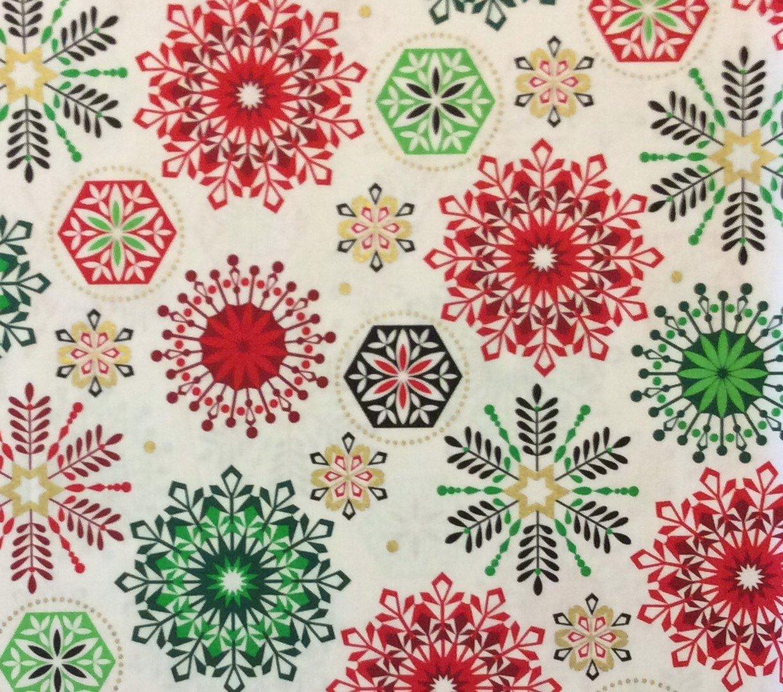 Terrific Md237 Snowflake Winter Christmas Holiday Season Red Green Cotton Easy Diy Christmas Decorations Tissureus