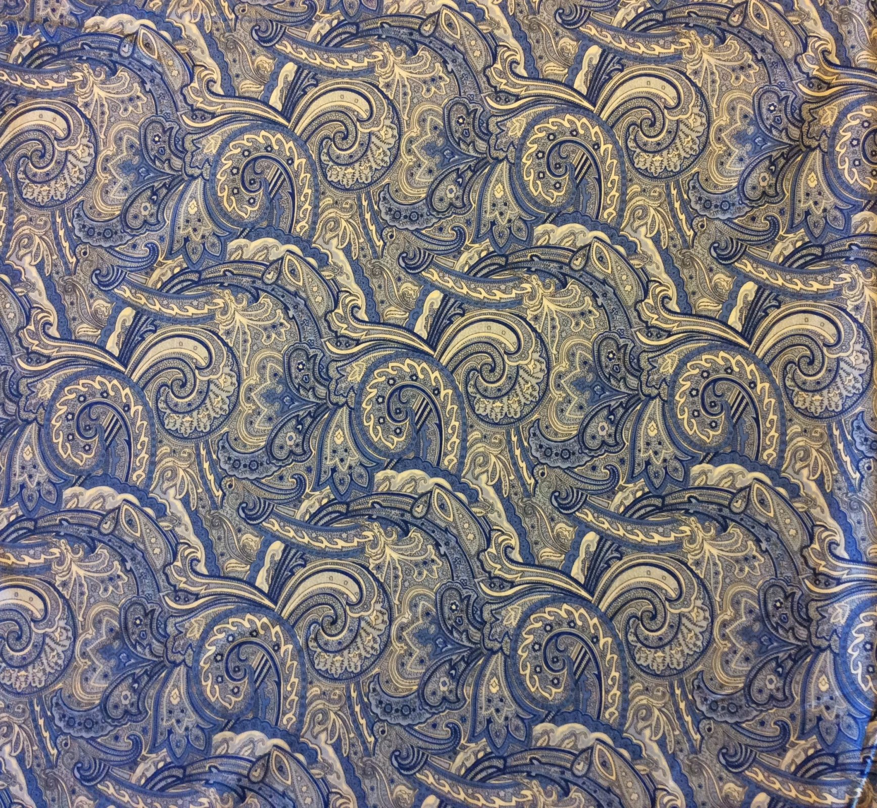 Persian Fabric: Blue Paisley Swirl French Provincial Boteh Persian