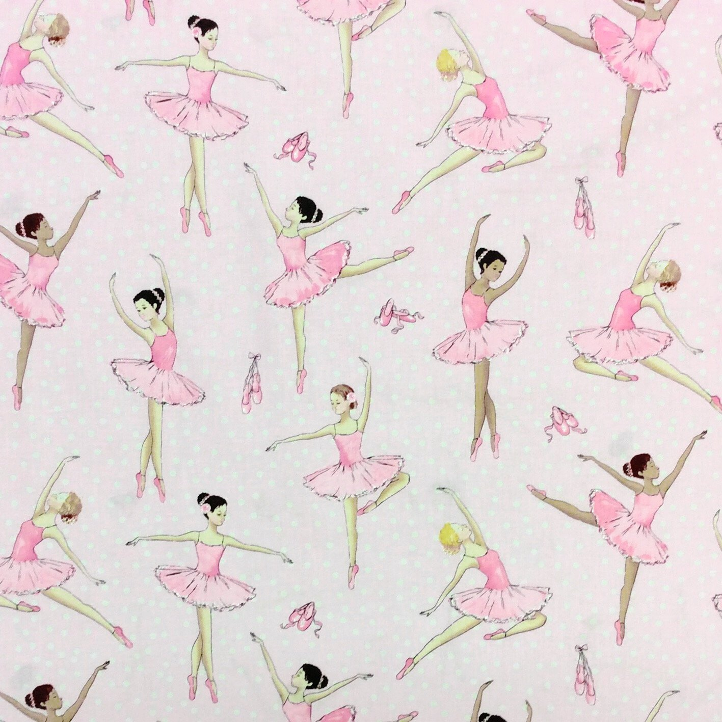 Ballerina dance ballet shoes tutu dots kids pink cute for Kids pattern fabric