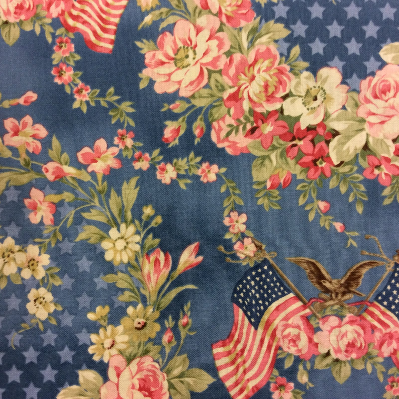 Md68 victorian style usa floral flag eagle star patriotic for Victorian floral fabric