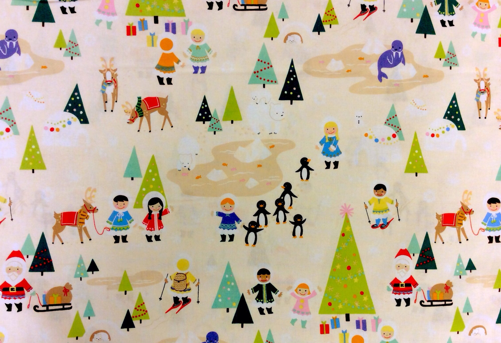 Md95 christmas winter santa love cute children silly for Cute childrens fabric