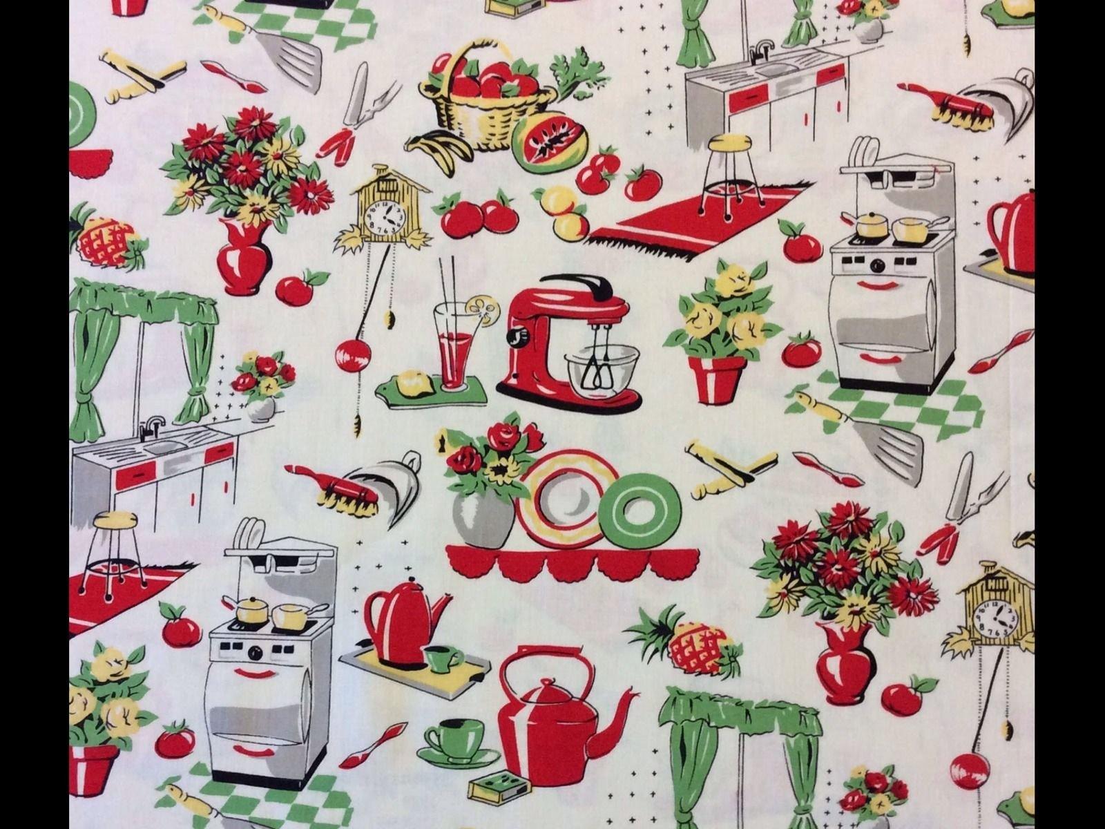Retro Atomic Kitschy Kitchen Cooking Oven Mixer Cotton Quilt ...
