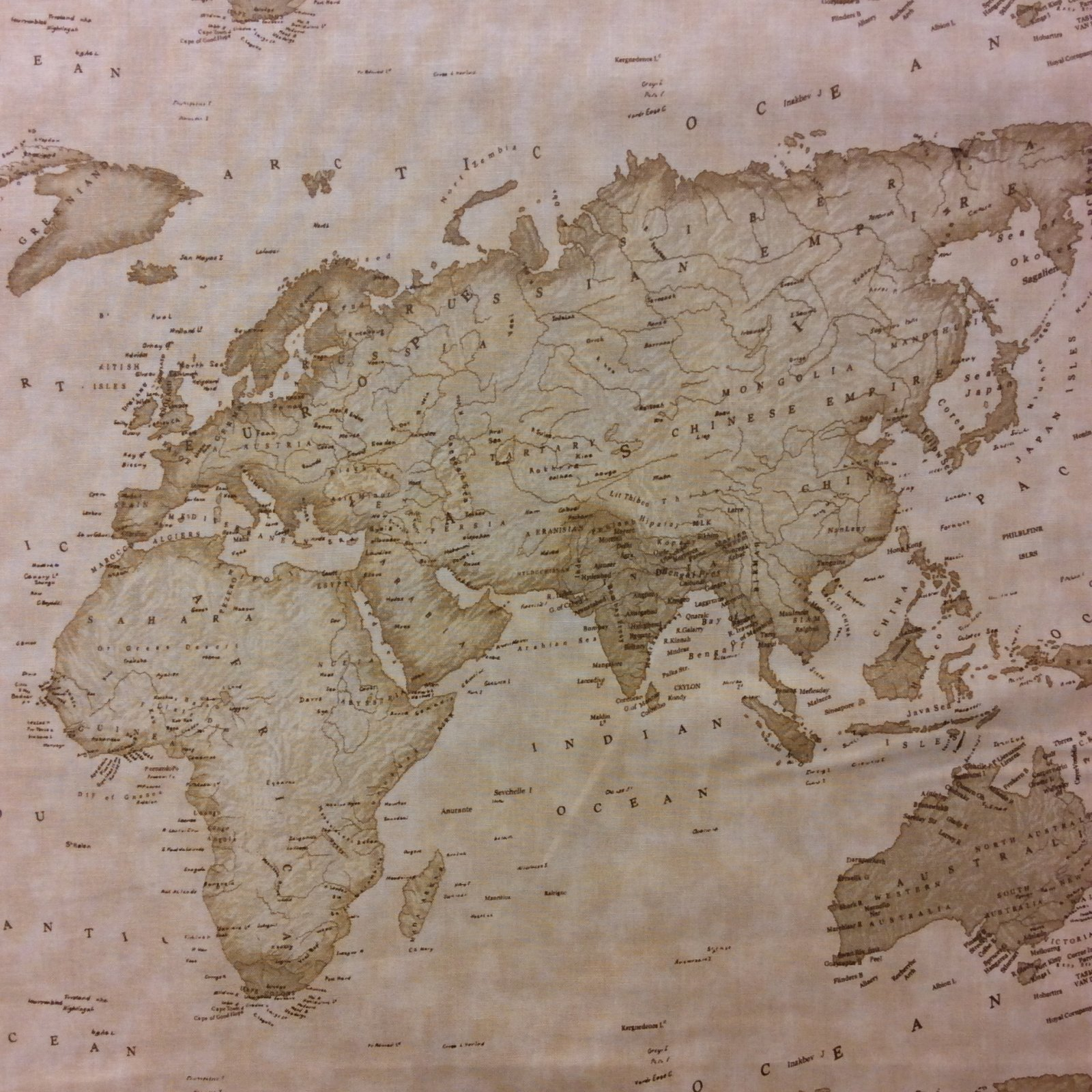 Worksheet. MO09 Moda Sepia Map of the World Atlas Continent Quilt Cotton