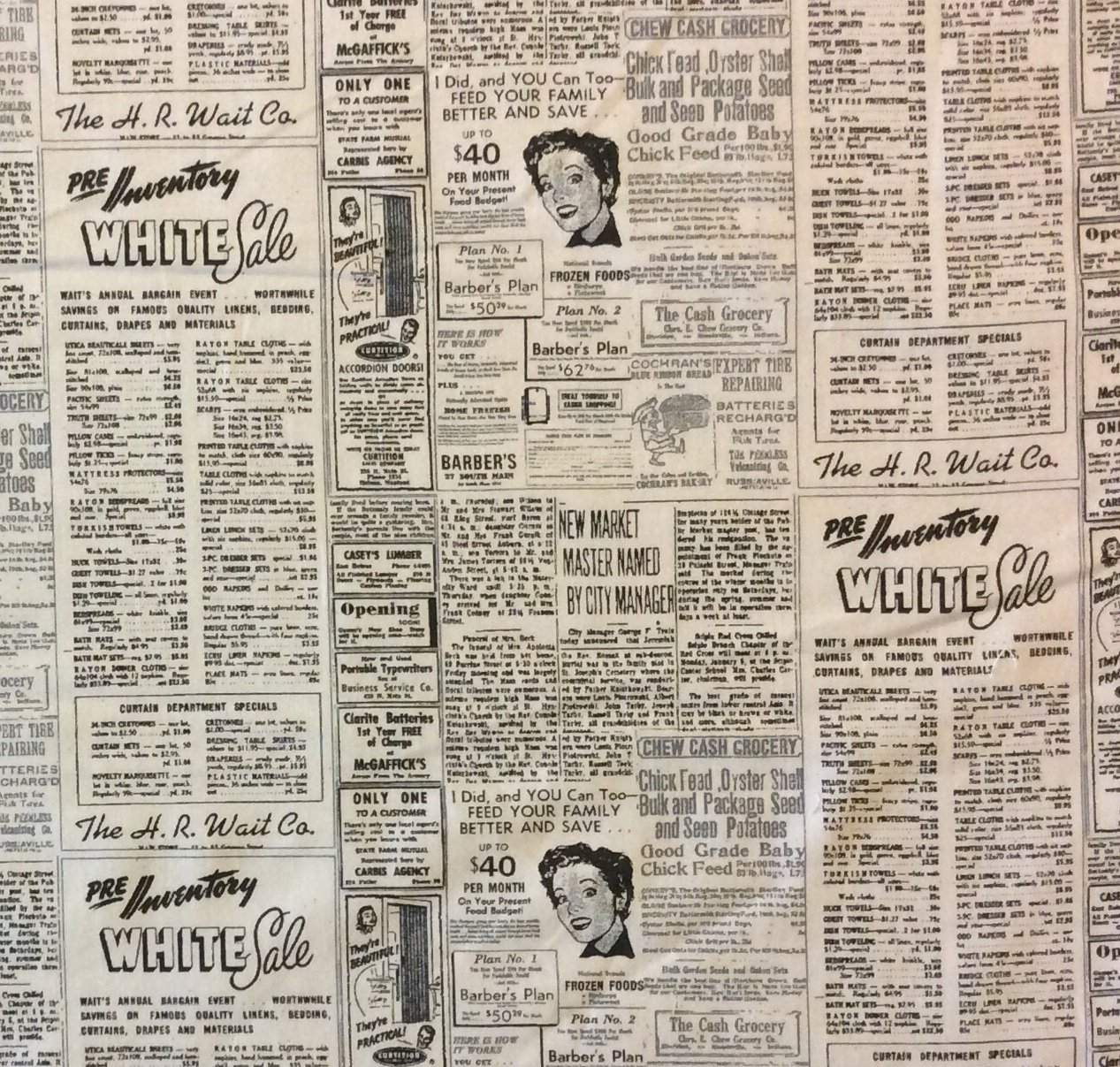 Newspaper script print sale 50s atomic era coupon for Newspaper wallpaper for sale