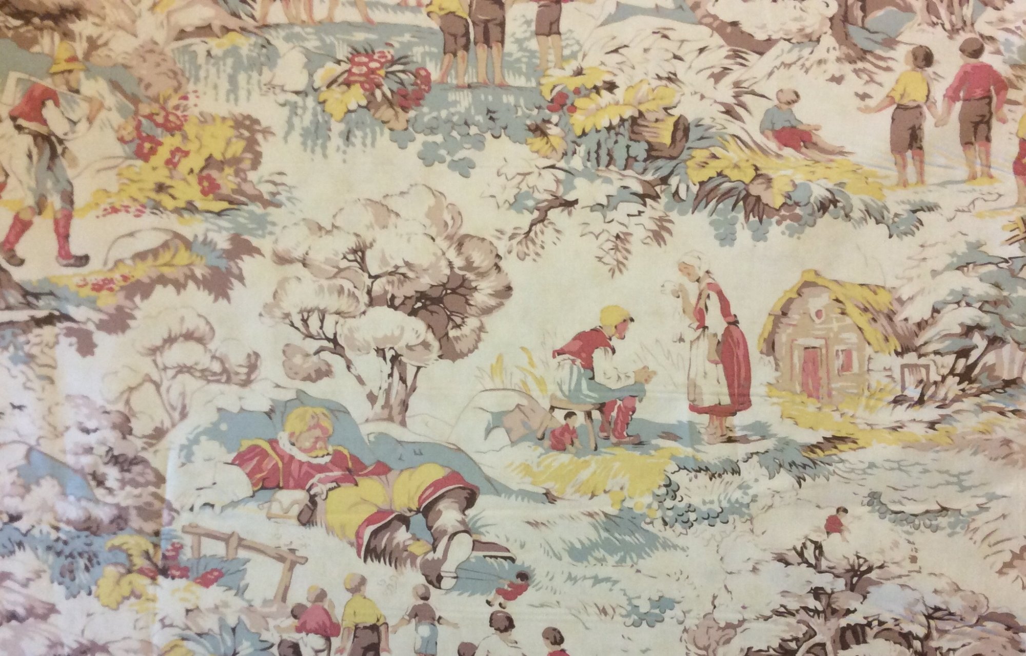 MO41 Giants Man Toile Fantasy Medieval Fairy Tale Story Quilting Cotton  Fabric Part 70
