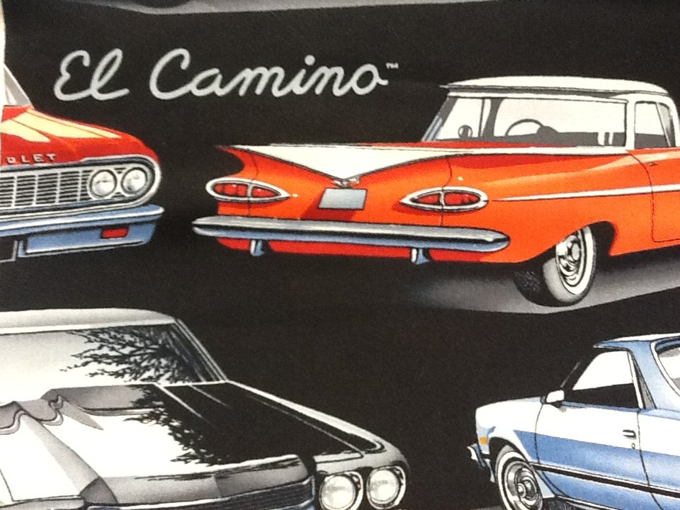 El Camino Chevrolet Sports Car Hot Rod Chevy Retro Muscle Cars Cotton Fabric Quilt Fabric Sale