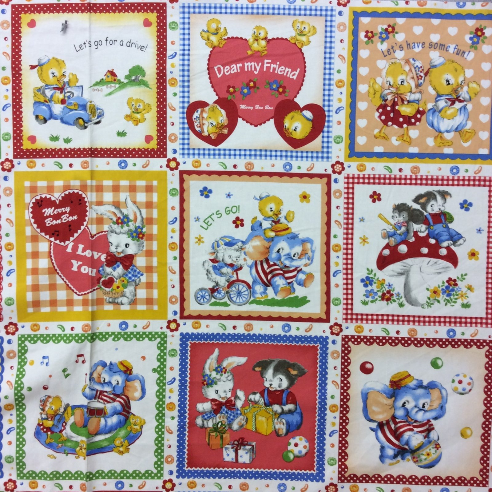 Nt01 pnl82 cute animals playing games children kids canvas for Cute childrens fabric