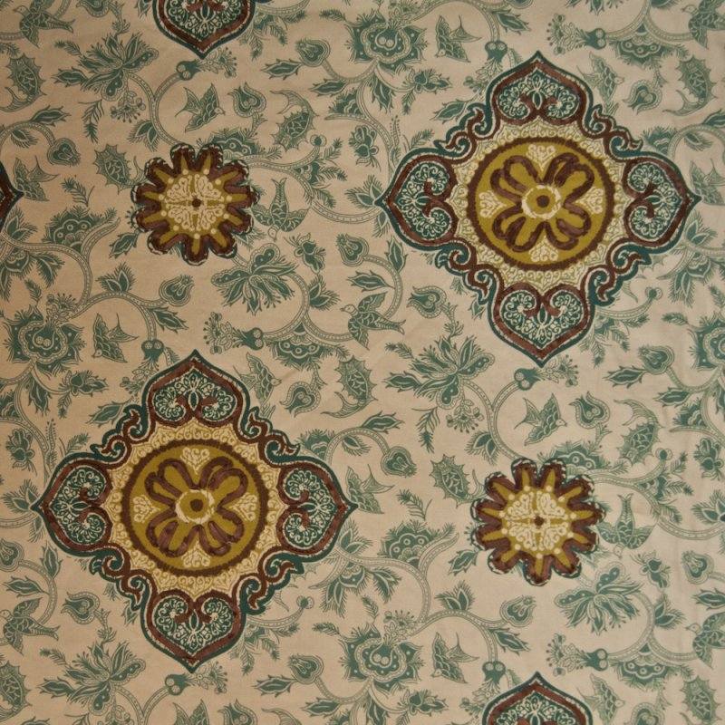 Suzani ribbon embroidered floral birds drapery upholstery