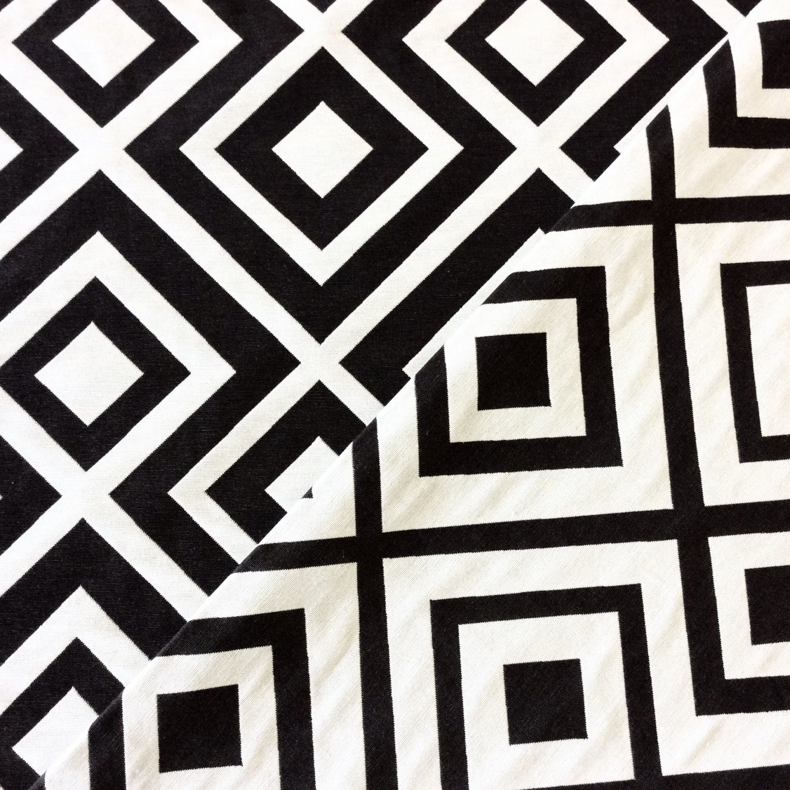 osepx100-b black & white diamond geo geometric home decor fabric