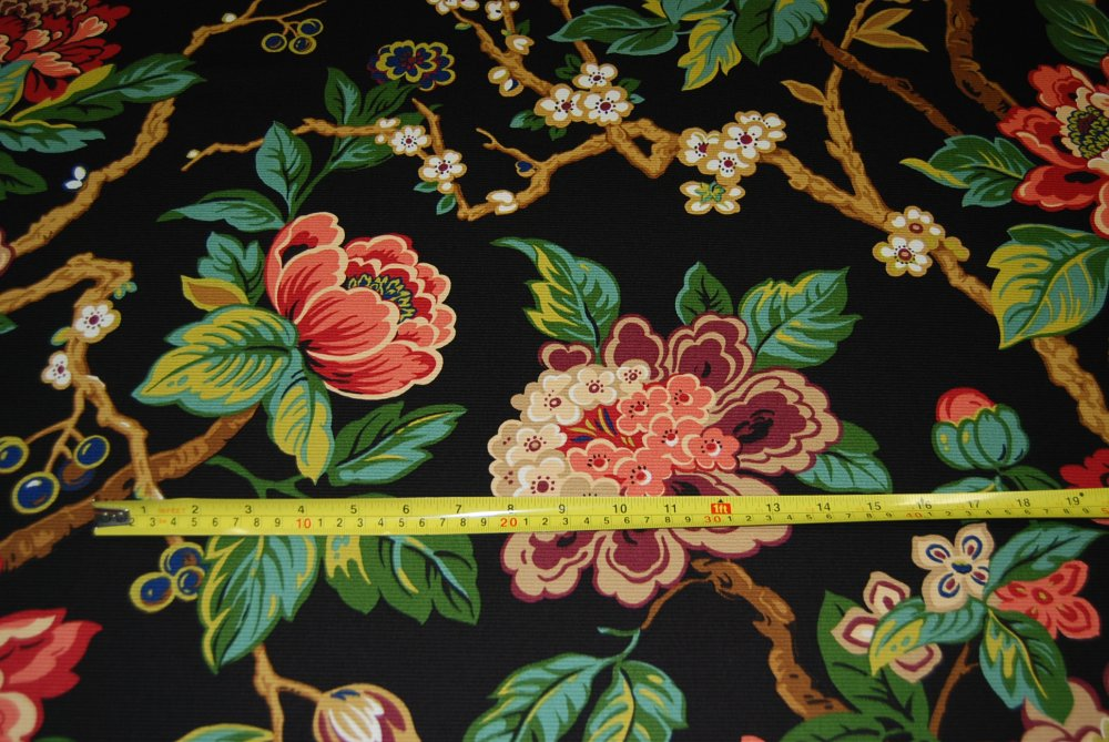 Asian Floral Branch Japanese Inspired Ottoman Upholstery