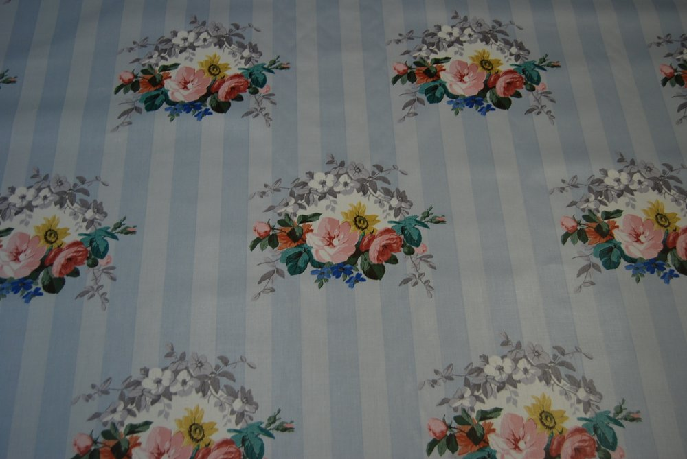 Chintz Shabby Chic English Garden Rose Floral Striped