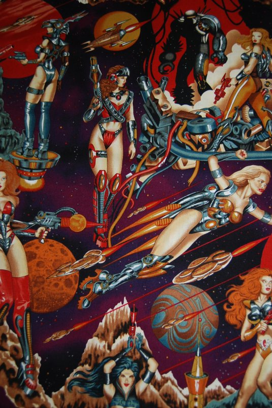 Barbarella future space galaxy rocket babes sexy pin up for Space themed fleece fabric