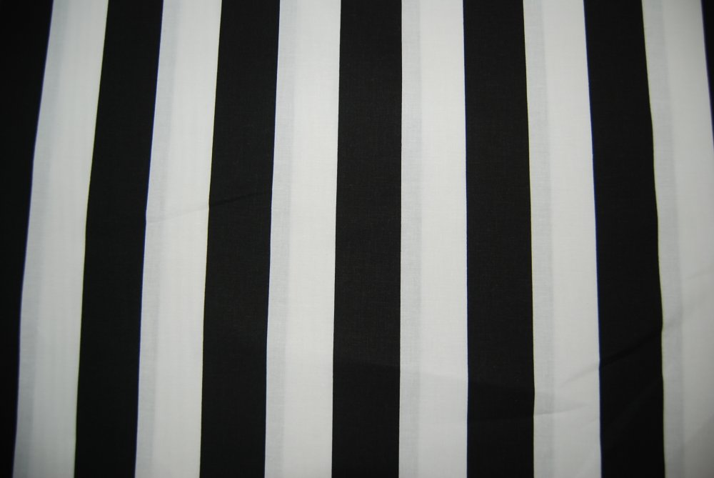 Circus Tent French Stripe White and Black Stripe Cotton Quilting Fabric CR163