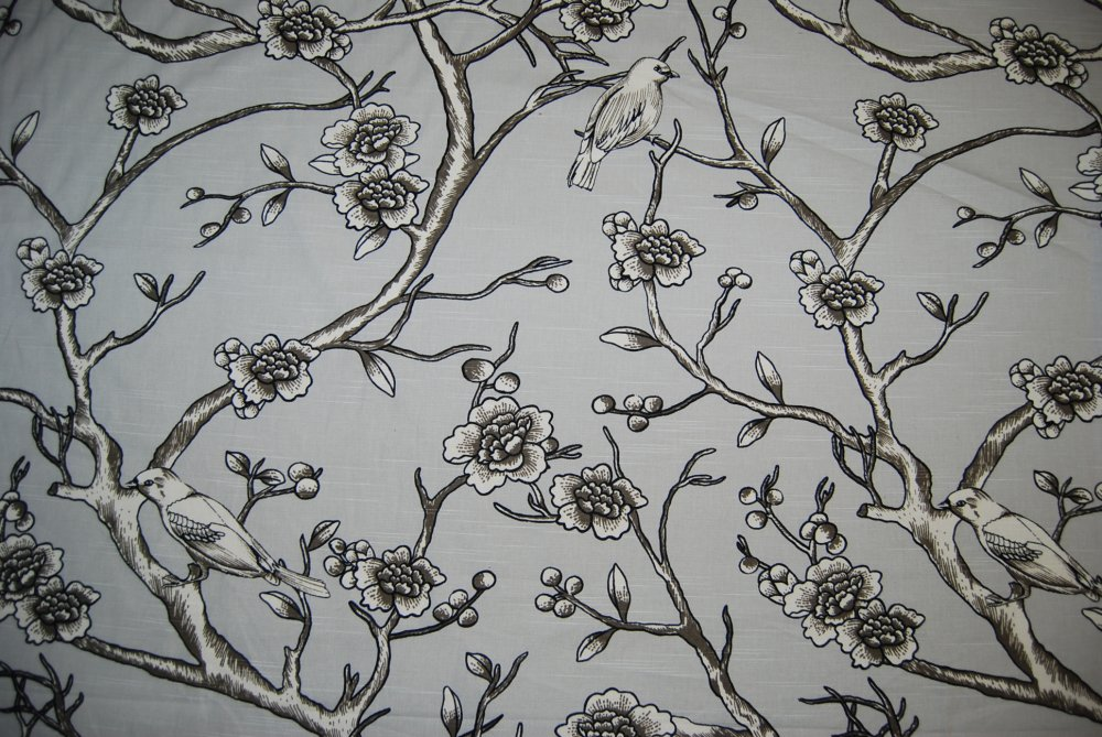 Dwell STudio Bird Floral Toile Print Modern Clean Lined Grey Cotton Fabric  LHD207 Part 38