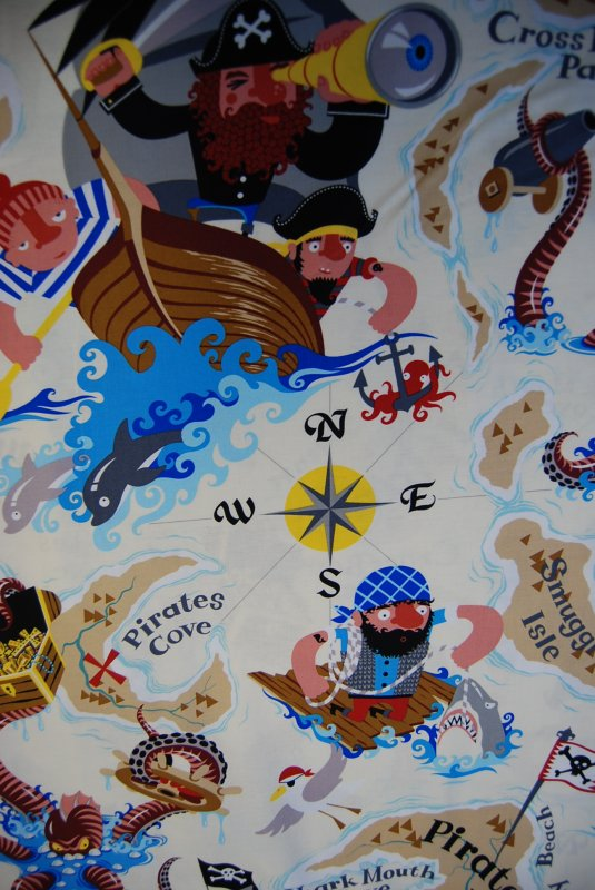 Pirate island pirate ships cartoon sea adventure children for Children of the sea fabric
