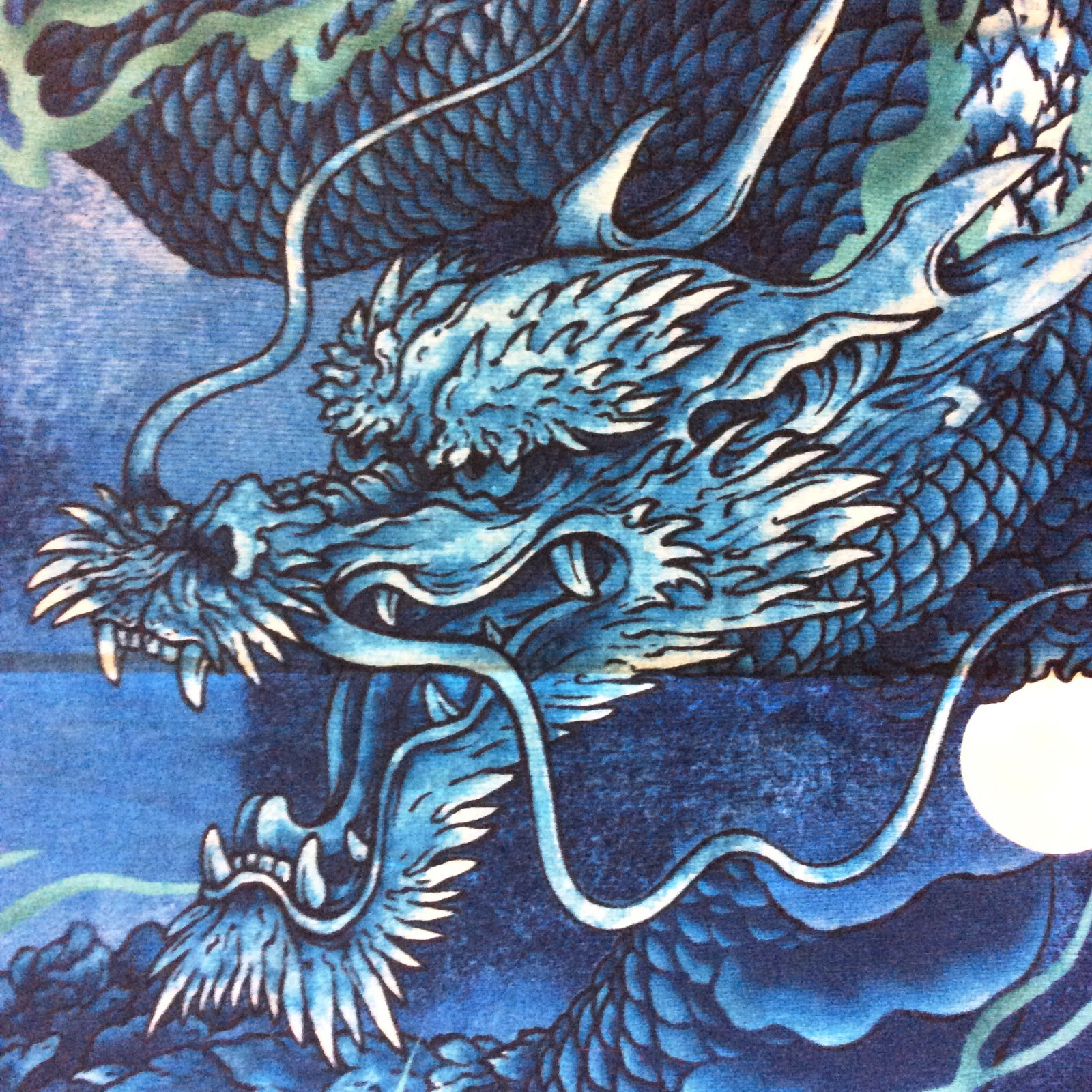 Kona bay pnl149 asian dragon moon crane japanese fantasy for Dragon fabric kids