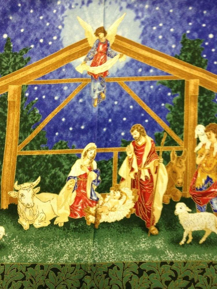 FF60 PNL95 Nativity Jesus Mary and Joseph Manger scene Square panel print cotton fabric quilt fabric Christmas