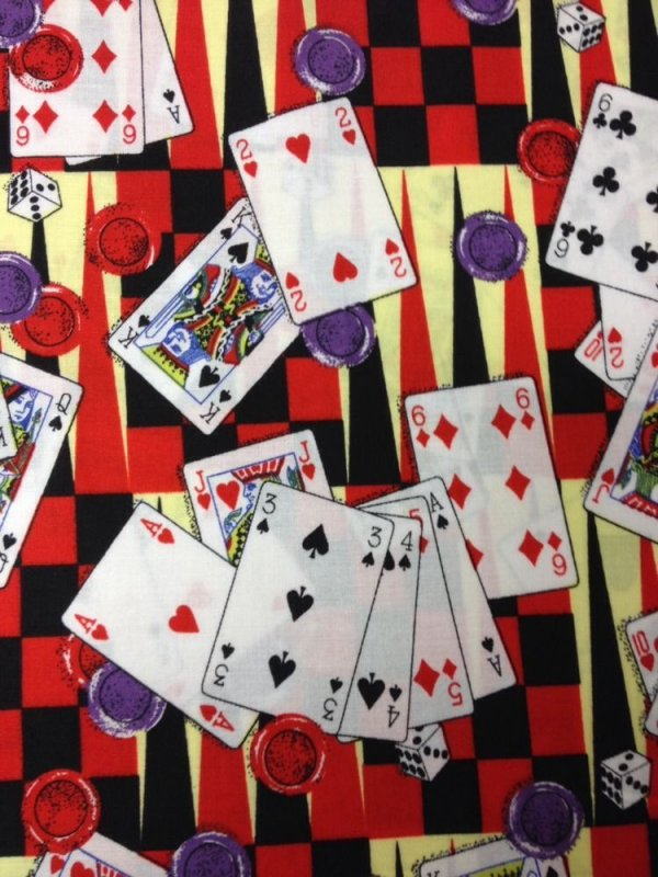 Casino gambling themed patchwork fabric mont blue resort and casino