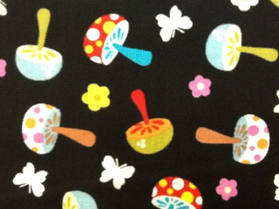 mushroom retro scandinavian kitsch quilt fabric cotton