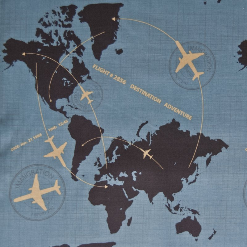 Rb43 airplane air travel continents world map globe for Airplane print cotton fabric