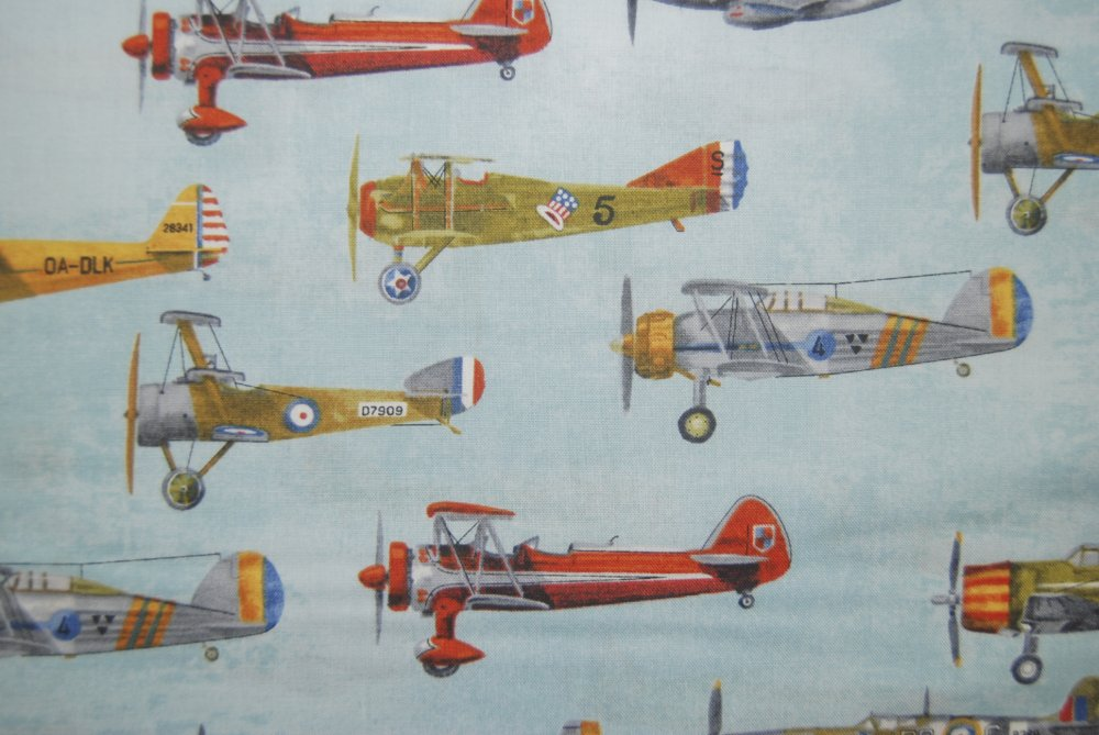 Rk72 vintage antique airplanes sky blue flight aviation for Airplane fabric by the yard