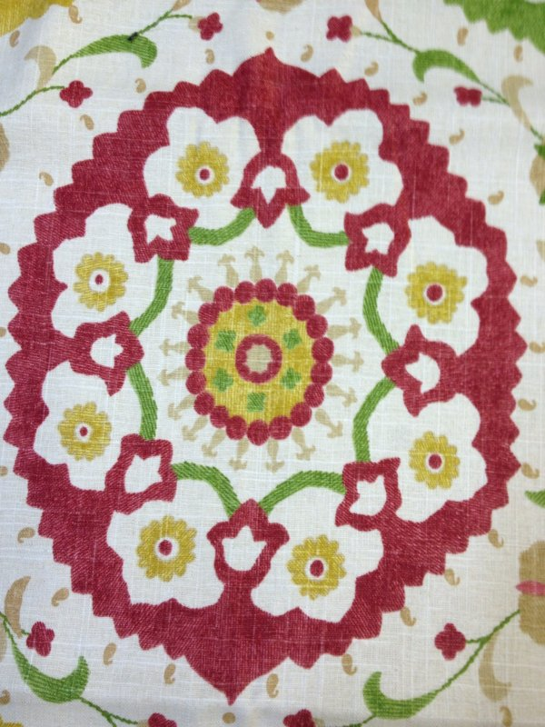 Suzanni Suzani Tribal Print Red Green Blue Pink Yellow & Cream Cotton Linen Fabric 6 Yard Piece Heavy Linen weight fabric SALE! CLOSEOUT Full Piece CP6