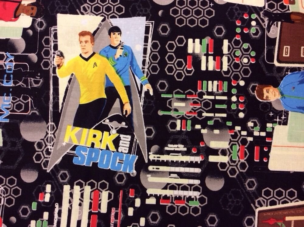 Star trek universe kirk spock sulu tv space cotton fabric for Space themed fleece fabric