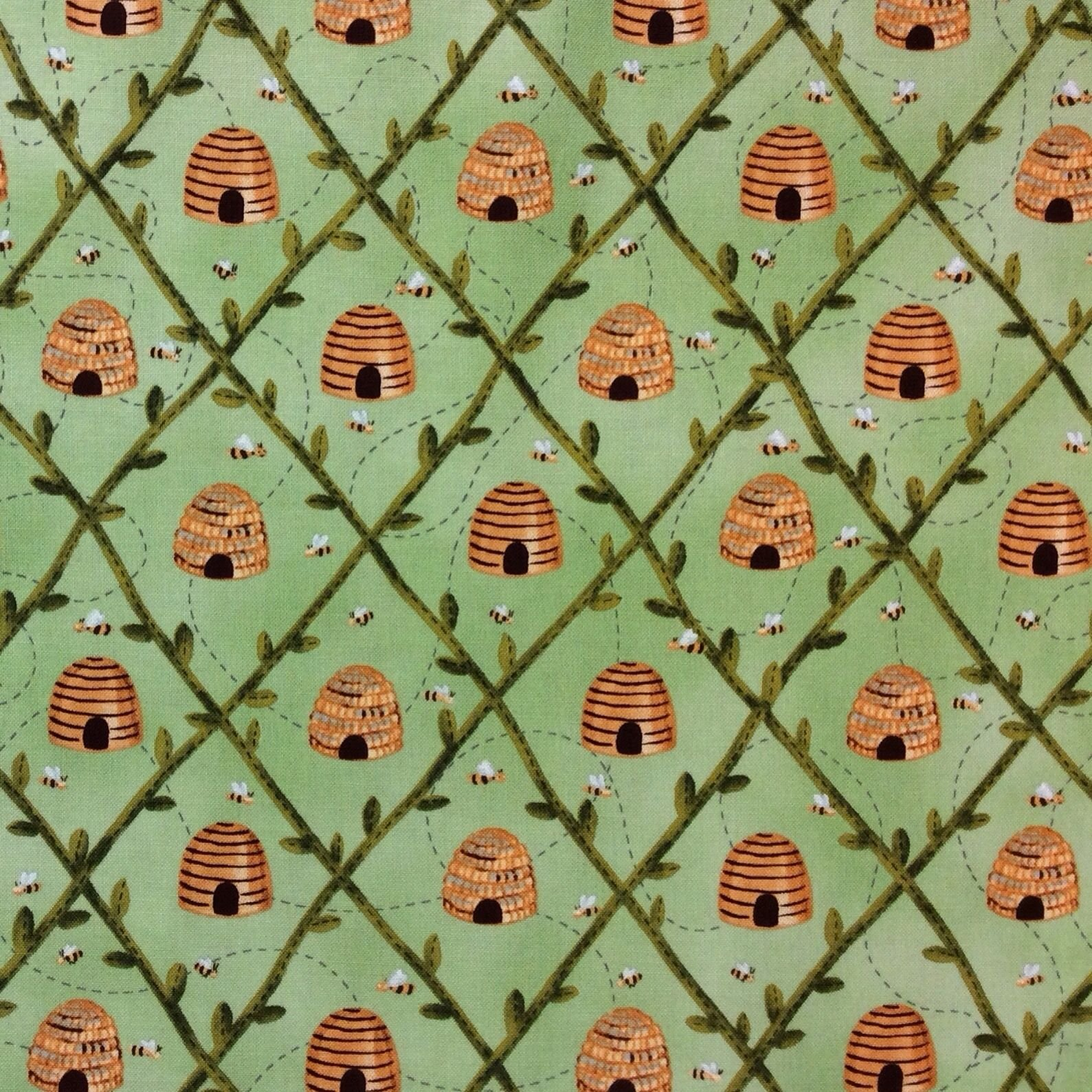 Wi39 beehive bees buzz honey bear green cute quilt cotton for Cotton quilting fabric