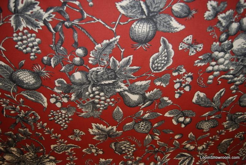 French Country Fabrics Part - 49: Pomegranate French Country Toile Faille Textured Cotton Fabric Heavy  Drapery Fabric 302OR