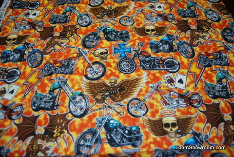449 Easy Rider Motorcycle Tattoo Biker Skull Chopper Cotton Fabric Quilt Fabric