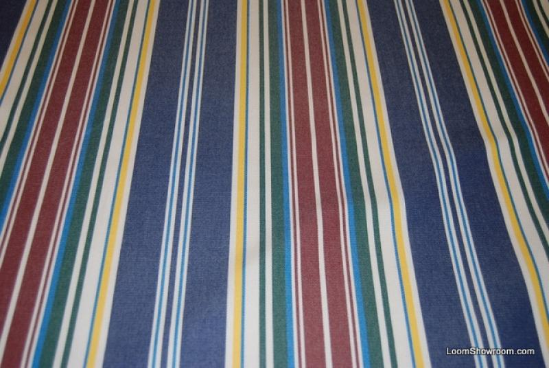 Ralph Lauren Classic Awning Stripe Green Yellow Burgundy Navy White Stripes  Famous Maker Soft Indoor Outdoor Fabric 726 CLOSEOUT