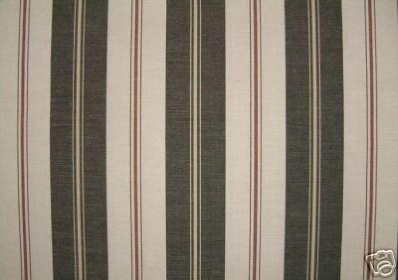 Ralph Lauren Classic Awning Club Stripe Black Cream Sunbrella Outdoor Fabric  Vertical Traditional Stripe #732 CLOSEOUT