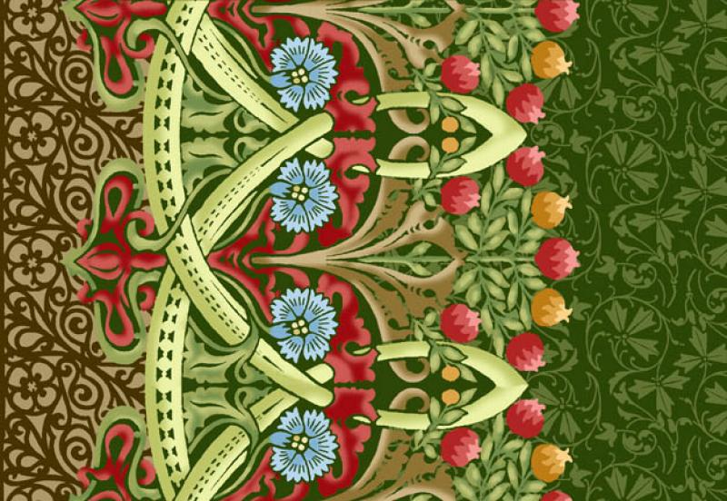Morris Meadows Michele Hill Liberty Arts And Crafts Print Flower - Arts and crafts fabric patterns