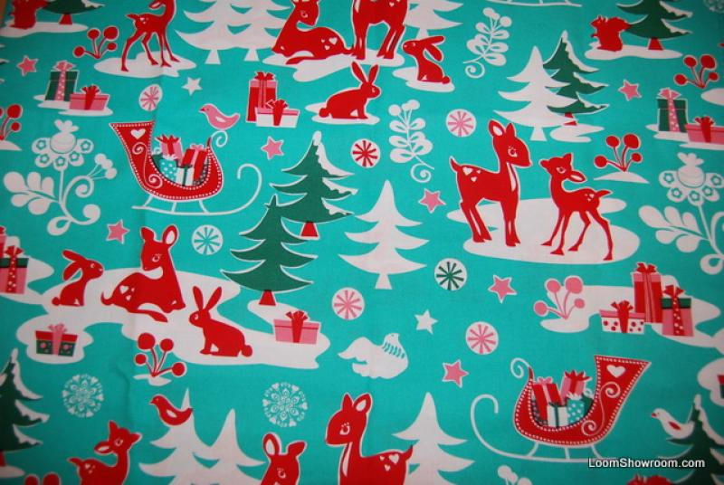 Deer Winter Wonderland Retro Christmas Cotton Fabric Quilt Fabric ...
