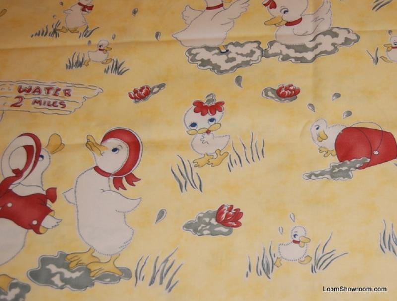 Little duckling vintage print childrens theme nursery for Nursery print fabric