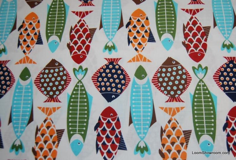 Fish fiesta sealife sea ocean modern retro cotton fabric for Fishing themed fabric