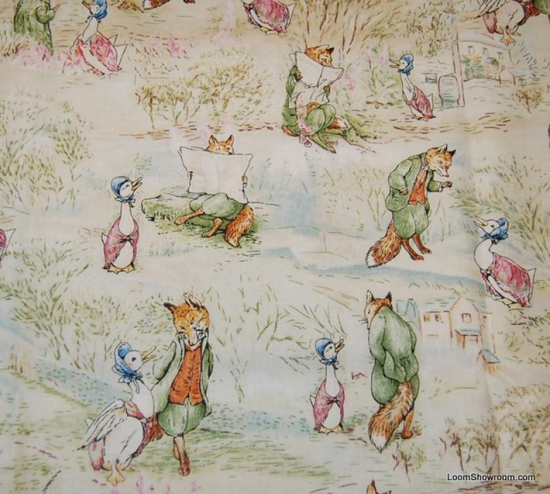 Beatrix potter story fox goose peter rabbit jemima for Childrens quilt fabric