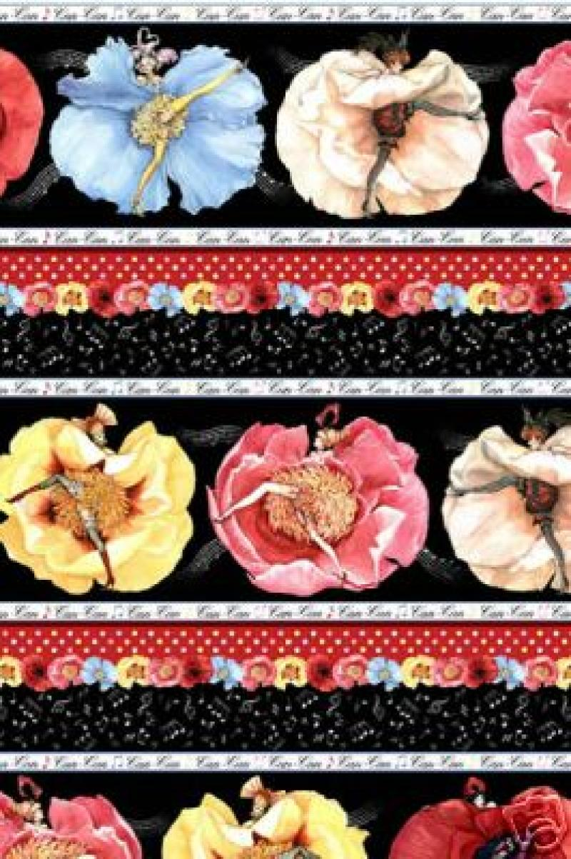 Can Can Ladies Sexy Pin Up Paris Floral France Sew Quilt ...