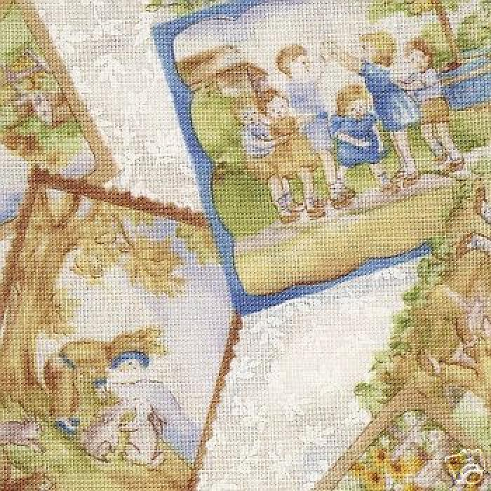 C89 vintage nursery rhyme children quilt cotton fabric for Childrens quilt fabric