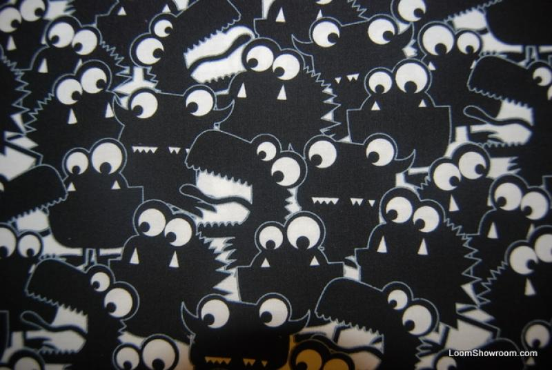 F09 monsters fun jan pienkowski style artwork black and for Monster themed fabric
