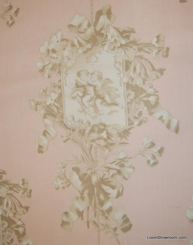 Toile Cherub Pink Angel Print Taupe Ivory Pale Pink Heavy