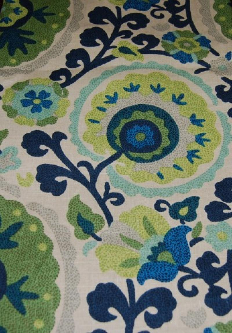Suzani Print Linen Texture Cotton Fabric Heavy Weight Fabric HD610