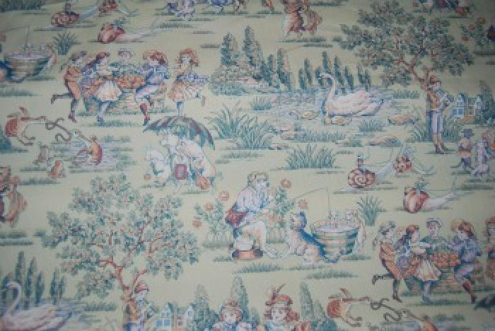 Toile childrens theme vintage style and color nursery for Vintage childrens fabric prints