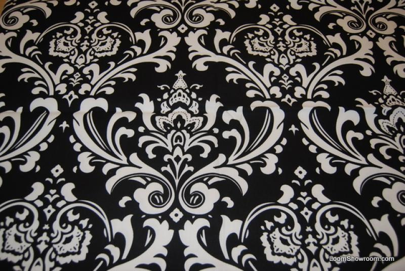 Damask Print Black And White Bold Large Scale Print Heavy