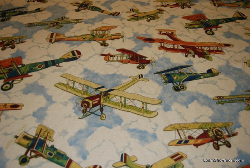 Airplane in flight classic blue sky clouds heavy weight for Airplane print cotton fabric