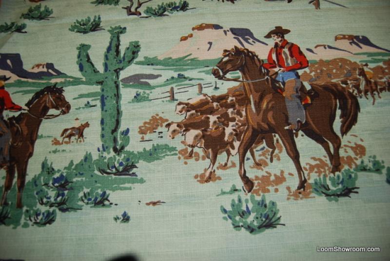 Cowboy dude ranch horse range vintage style textured bark cloth print