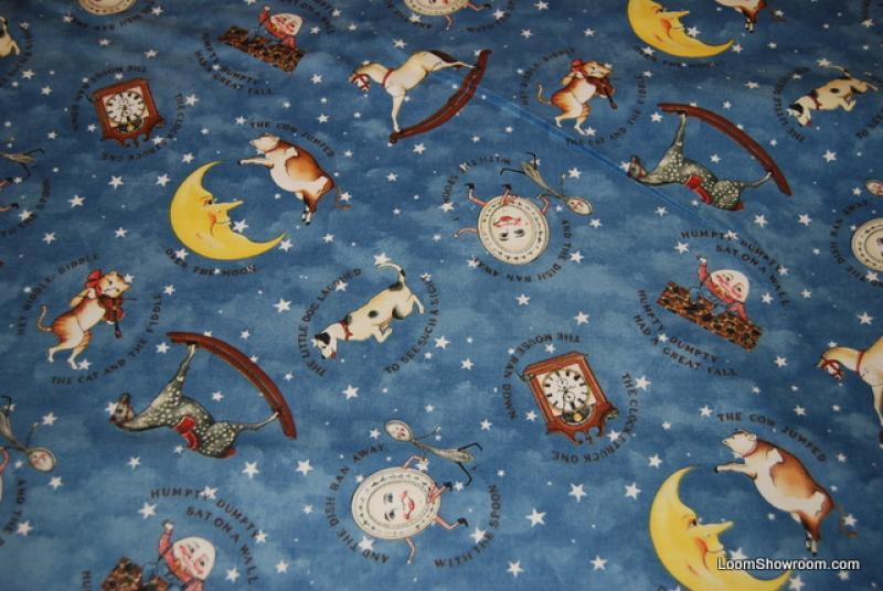J55 over the moon humpty dumpty mother goose nursery rhyme for Retro nursery fabric