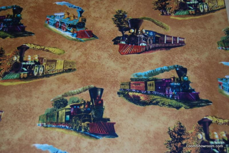 L28 steam engine train currier and ives lithograph artwork for Train themed fabric