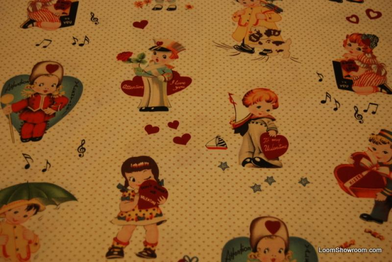 L86 vintage valentines heart boys and girls quilt fabric for Boys cotton fabric